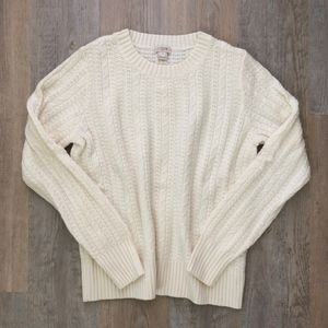 J.Crew Factory Cable Knit Sweater Ivory Small